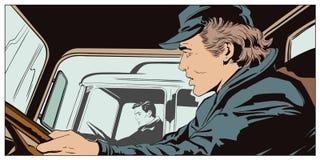 Varones en la rueda de camiones stock de ilustración