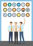 Varones financieros de los trabajadores de Bitcoin en vector de los trajes libre illustration