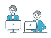 Varones que llevan los trajes formales que sientan vector de los ordenadores portátiles stock de ilustración