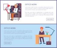 Varones Sit Workplace de la muestra del texto del cartel del trabajo de oficina stock de ilustración