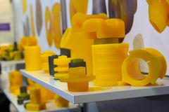 Varous products from polyurethane on the exhibition stand. Industry stock photo