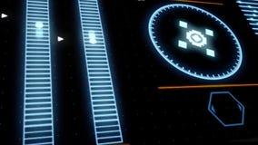 Varredor do alvo com rotação do radar, dados do computador da exposição, altos - conceito da tecnologia animation Feche acima par ilustração stock