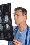 Varredura do doutor Studying MRI Fotografia de Stock Royalty Free