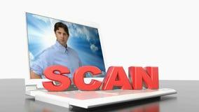 VARREDURA no laptop - vídeo da rendição 3D ilustração do vetor