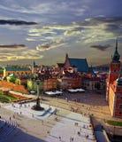 Varsóvia no por do sol fotos de stock royalty free