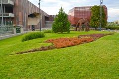 VARSÓVIA, POLÔNIA - 23 DE AGOSTO DE 2014: Vista da construção do planeta Fotos de Stock Royalty Free