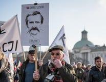 Varsóvia, Polônia, o 27 de fevereiro de 2016; março do apoio para Lech Walesa imagens de stock royalty free