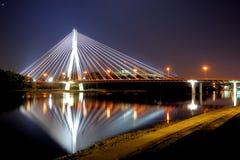Varsavia alla notte Fotografie Stock Libere da Diritti