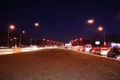 Varsavia alla notte Fotografie Stock