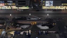Varsavia del centro durante l'intervallo di notte stock footage