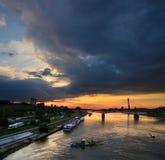 Varsavia e la Vistola Fotografie Stock Libere da Diritti