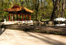 varsavia Giardino cinese nel parco reale di Lazienki Immagini Stock