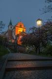 Varsavia, Polonia, Città Vecchia, vista di notte della chiesa del ` s di St Anne Fotografie Stock Libere da Diritti