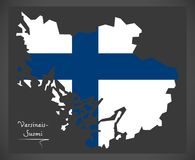 Varsinais-Suomi map of Finland with Finnish national flag illust. Varsinais-Suomi map of Finland with Finnish national flag Stock Image