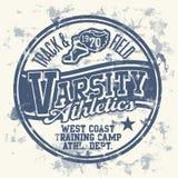 Varsity athletics. Grunge vector artwork for boy sportswear Stock Images