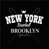 Varsity New york Brooklyn college university division team sport baseball label typography, t-shirt graphics for apparel Stock Photos