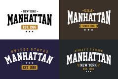 Varsity style, Manhattan athletic sport typography for t shirt print Stock Photos