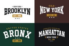 Varsity style, NYC athletic sport typography for t shirt print Stock Image