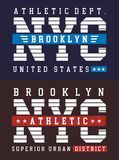 Varsity style, NYC Brooklyn athletic sport typography for t shirt print Stock Photography