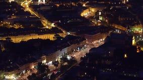 VARSOVIA, POLONIA - 26 DE AGOSTO DE 2017 Opinión aérea de la noche de la calle de Podwale y de la ciudad vieja Imagenes de archivo
