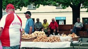 VARSOVIA, POLONIA - 10 DE JUNIO DE 2017 Parada del vendedor ambulante con los pasteles tradicionales y la gente mayor local Imagen de archivo