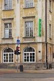 VARSOVIA, POLONIA - 12 DE MAYO DE 2012: Vista de los edificios históricos en la vieja parte de capital de Varsovia y la ciudad má fotografía de archivo