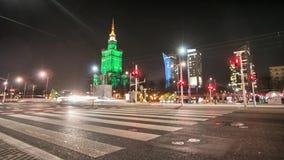 Varsovia por lapso de la noche en HD lleno almacen de metraje de vídeo