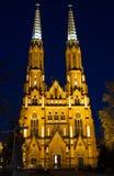 Varsovie par la cathédrale de nuit de St Michael Arkhangel et le St Florian le martyre image stock
