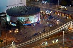Varsovie, Pologne - 27 août 2016 : Vue panoramique aérienne au centre ville de la capitale polonaise par nuit, du palais supérieu Photos libres de droits