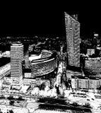 Varsovie, Pologne - 27 août 2016 : Vue panoramique aérienne au centre ville de la capitale polonaise par nuit, du palais supérieu Image stock