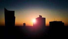 Varsovie, Pologne - 27 août 2016 : Vue panoramique de Skylinel au centre ville de la capitale polonaise au coucher du soleil avec Images stock