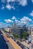 Varsovie/Pologne - juin 17 2018 Vue aérienne sur le centre ville de ville, mélange d'architecture moderne et vieille Jour ensolei image stock