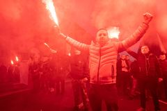Varsovie, Pologne - 11 novembre 2018 : 200 000 ont participé à l'indépendance mars sur le 100th anniversaire de l'indépendance de image stock