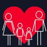 vart begreppshanden har den sena pillen för sjukvårdhjälp Familj på bakgrunden med hjärta stock illustrationer