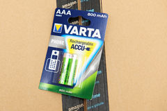Varta recheargeable accumulators for home phone Royalty Free Stock Images
