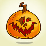 Vartoon pumpkin head with an evil expression on his face. Vector Halloween ilustration isolated Stock Images
