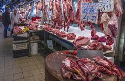 Varvakeios market in the center of Athens city, Greece stock photography