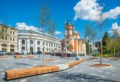 Varvarinsky kyrka på den Varvarka gatan Fotografering för Bildbyråer
