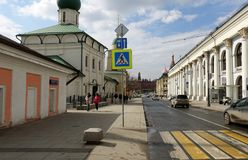 Varvarka street in the historical center of Moscow. Temple of the Great Martyr Barbarians royalty free stock photos