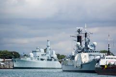 varvmarinportsmouth ships arkivfoto