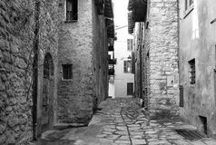 Varzi old city centre. Black and white photo Royalty Free Stock Image