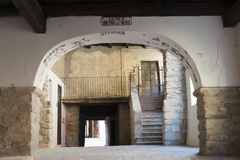 Varzi (Pavia), alte Gebäude Stockbild