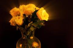 Vas av gula Ray Roses Arkivbild