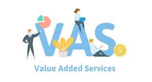VAS, de Diensten Op de toegevoegde waarde Concept met sleutelwoorden, brieven, en pictogrammen Vlakke vectorillustratie Geïsoleer stock illustratie