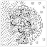 Vas med den klotterblommor och mandalaen Arkivbilder