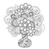 Vas med klotterblommor vektor illustrationer
