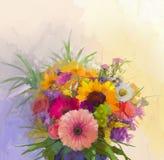 Vas med stilleben en bukett av att måla för blommor Arkivfoto