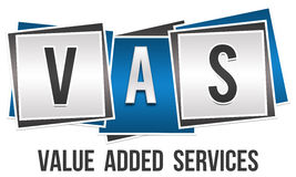 VAS Three Blocks. Three blue grey blocks with VAS text on it royalty free illustration