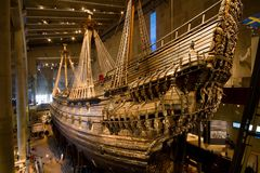 Vasa boat. The unique reconstructed medieval boat, Vasa museum