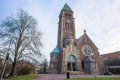 Vasa Church (Vasakyrkan) in Gothenburg and. Beautiful park. Winter sunny day, Sweden Royalty Free Stock Photo